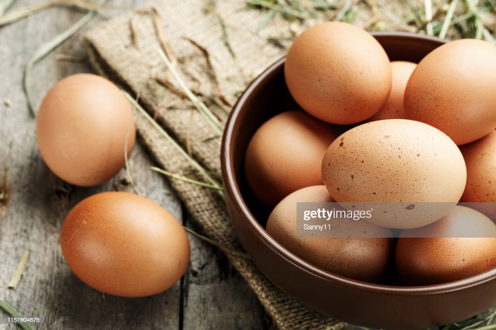 Brown eggs in a plate. : Stock Photo