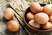 Brown eggs in a plate.