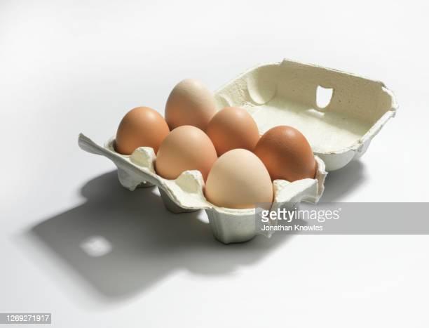 brown eggs in carton - 動物の卵 ストックフォトと画像