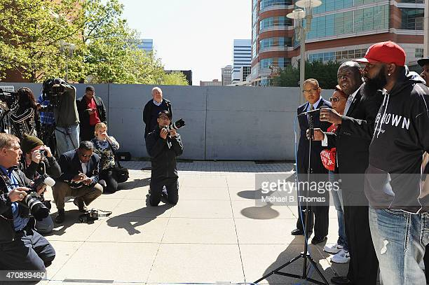 Brown family attorney Benjamin L Crump speaks to the media during a press conference outside the St Louis County Court Building on April 23 2015 in...