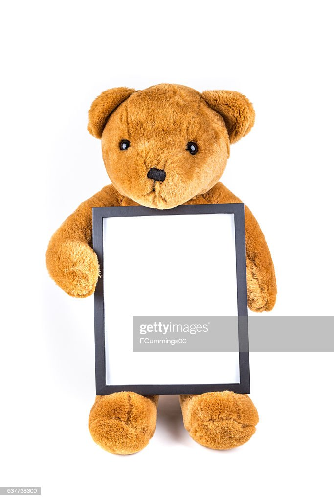 Brown Fuzzy Teddy Bear Holding A Black Frame Stock Photo | Getty Images