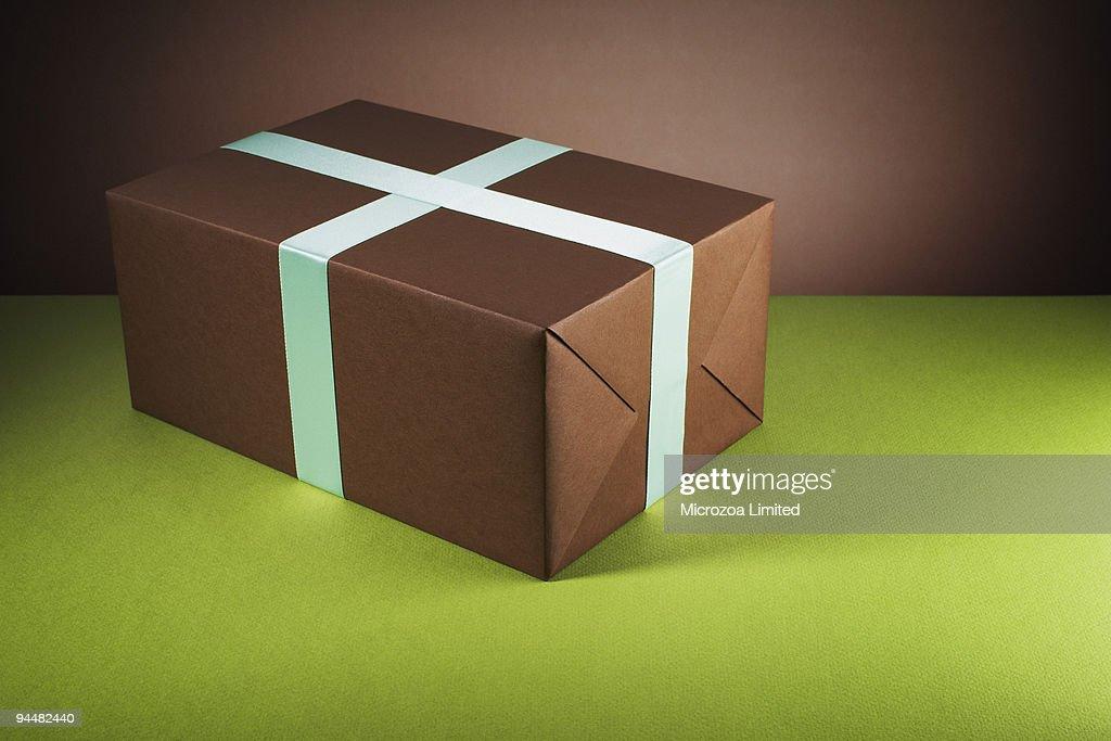 Brown gift box : Stock Photo