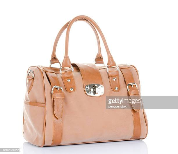 brown handbag - leather purse stock pictures, royalty-free photos & images