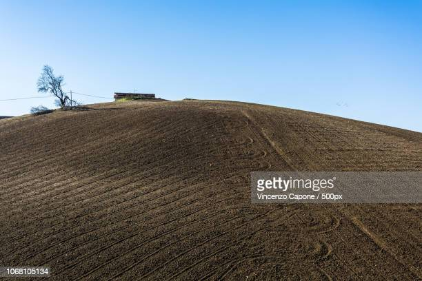 brown hill with clear sky - molise foto e immagini stock