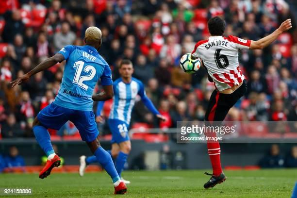 Brown Ideye of Malaga CF Mikel San Jose of Athletic Bilbao during the La Liga Santander match between Athletic de Bilbao v Malaga at the Estadio San...