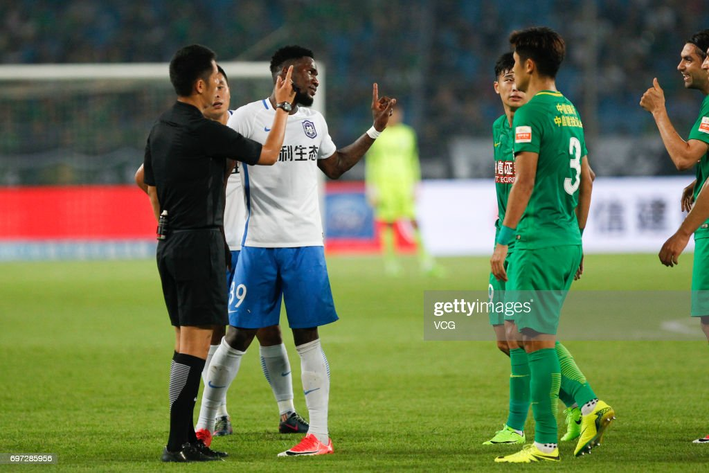 Brown Ideye # 39 of Tianjin Teda reacts during the 13th round match of 2017 Chinese Football Association Super League (CSL) between Beijing Guoan and Tianjin Teda at Beijing Workers' Stadium on June 18, 2017 in Beijing, China.