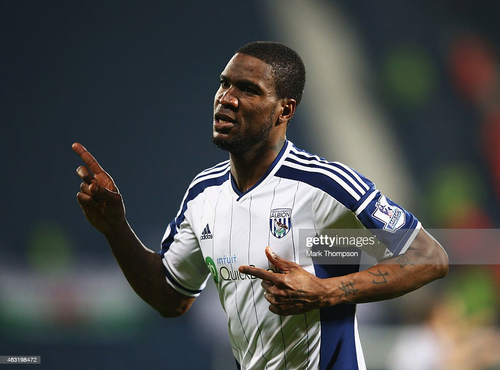 Brown Ideye of West Brom celebrates scoring the opening goal during the Barclays Premier League match between West Bromwich Albion and Swansea City at The Hawthorns on February 11, 2015 in West Bromwich, England.