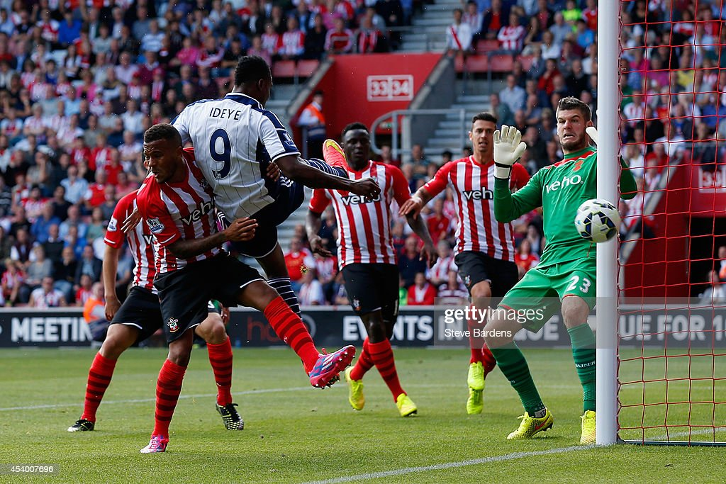 Brown Ideye of West Brom heads the ball wide of the goal during the Barclays Premier League match between Southampton and West Bromwich Albion at St Mary's Stadium on August 23, 2014 in Southampton, England.
