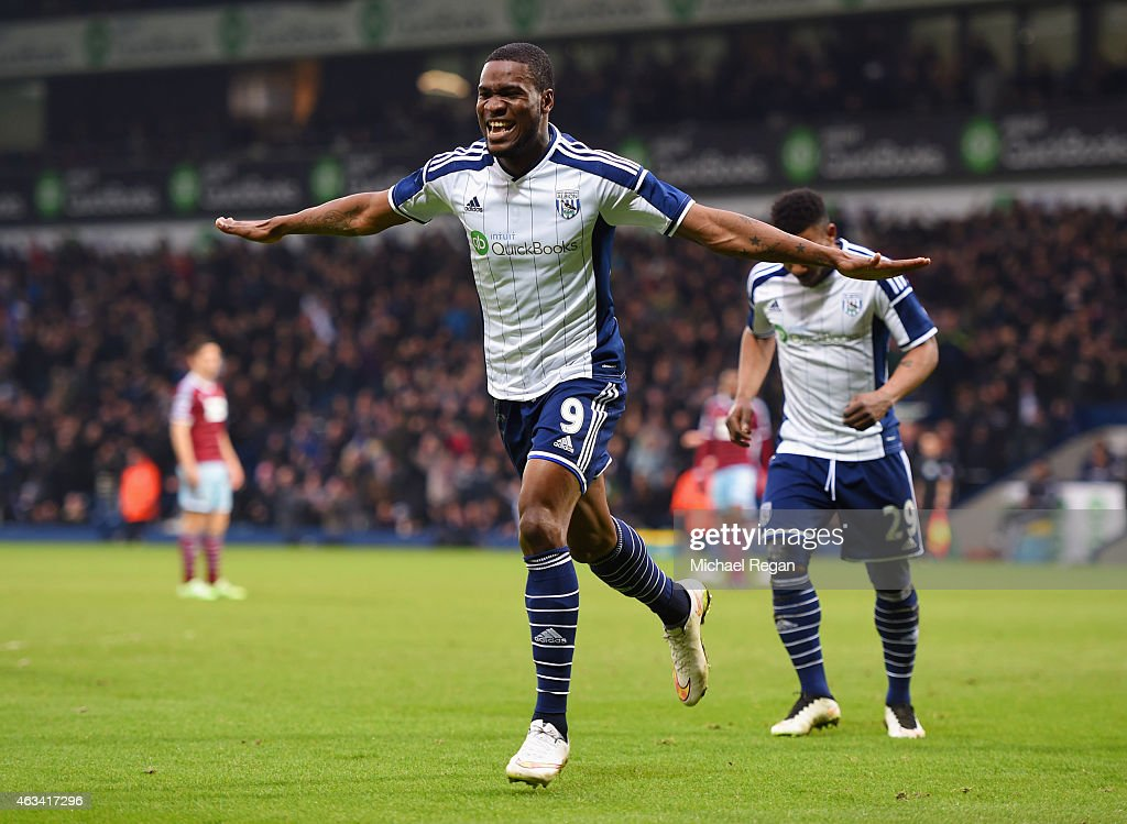 Brown Ideye of West Bromwich Albion (9) celebrates as he scores their third goal with a header during the FA Cup Fifth Round match between West Bromwich Albion and West Ham United at The Hawthorns on February 14, 2015 in West Bromwich, England.