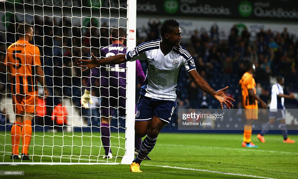 Brown Ideye of West Bromwich Albion celebrates his goal during the Capital One Cup Third Round match between West Bromwich Albion and Hull City at The Hawthorns on September 24, 2014 in West Bromwich, England.