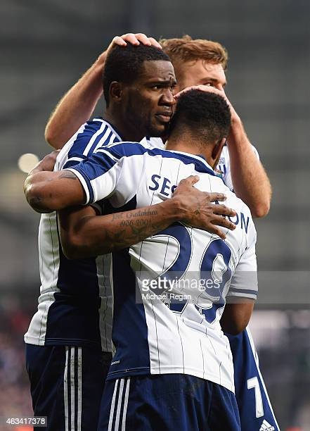 Brown Ideye of West Bromwich Albion celebrates with Stephane Sessegnon and James Morrison as he scores their third goal during the FA Cup Fifth Round...