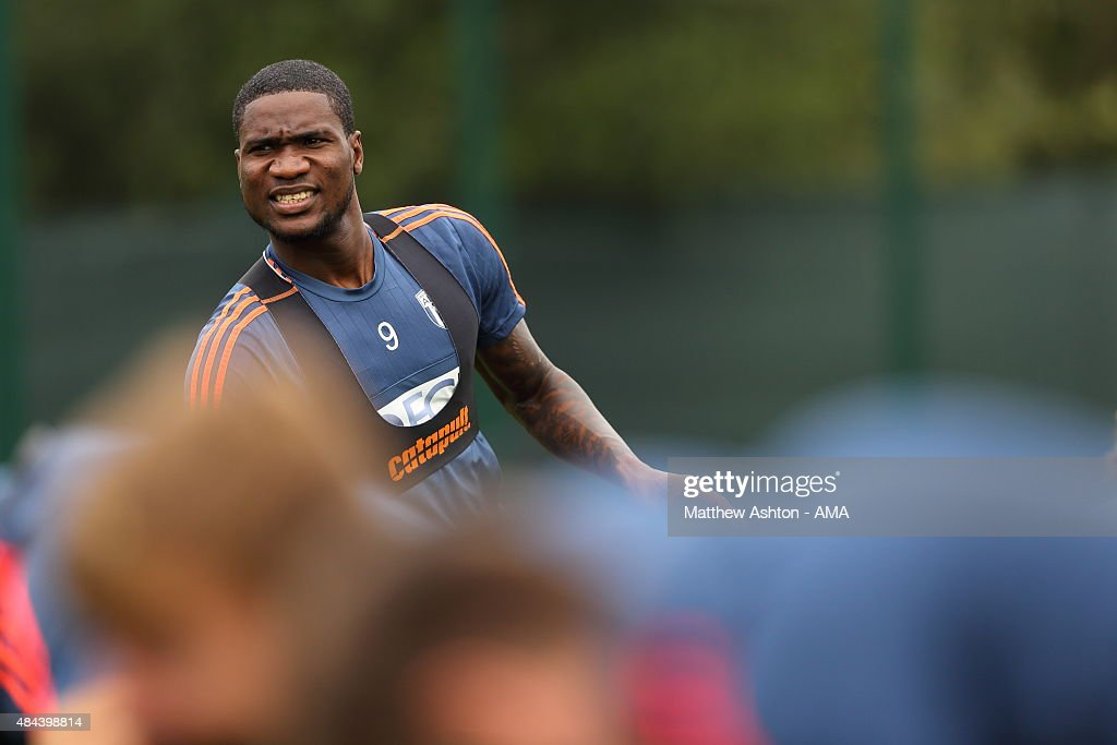 Brown Ideye of West Bromwich Albion during the West Bromwich Albion training session at West Bromwich Albion Training Ground on August 18, 2015 in Walsall, England.