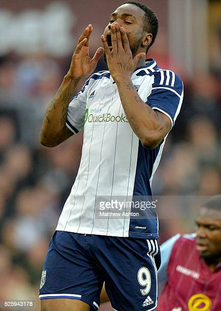Brown Ideye of West Bromwich Albion puts his hands over his face as he realises he has missed a chance to score