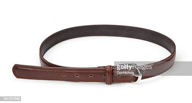 brown leather belt isolated - leather belt stock pictures, royalty-free photos & images