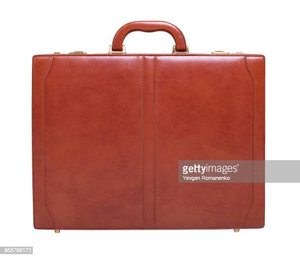 brown leather briefcase isolated on white background - handle stock pictures, royalty-free photos & images
