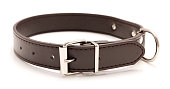 A brown leather dog collar with metal accents