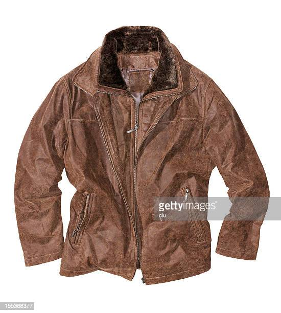 brown leather jacket isolated on white - brown jacket stock pictures, royalty-free photos & images