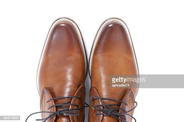 brown leather men shoes - brown shoe stock pictures, royalty-free photos & images
