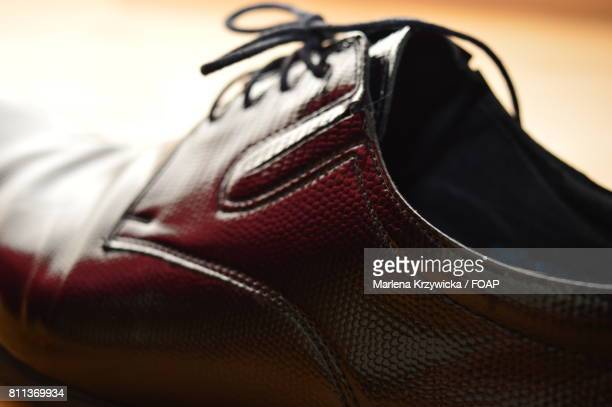 brown leather shoe - brown shoe stock photos and pictures