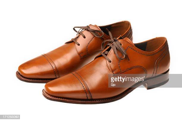 brown leather shoes - brown shoe stock pictures, royalty-free photos & images