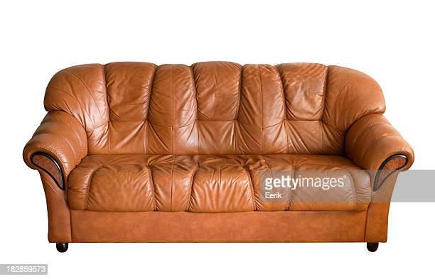 Braune Leder-sofa