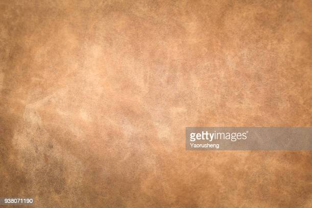 brown leather texture closeup for background and design works - cowhide stock photos and pictures