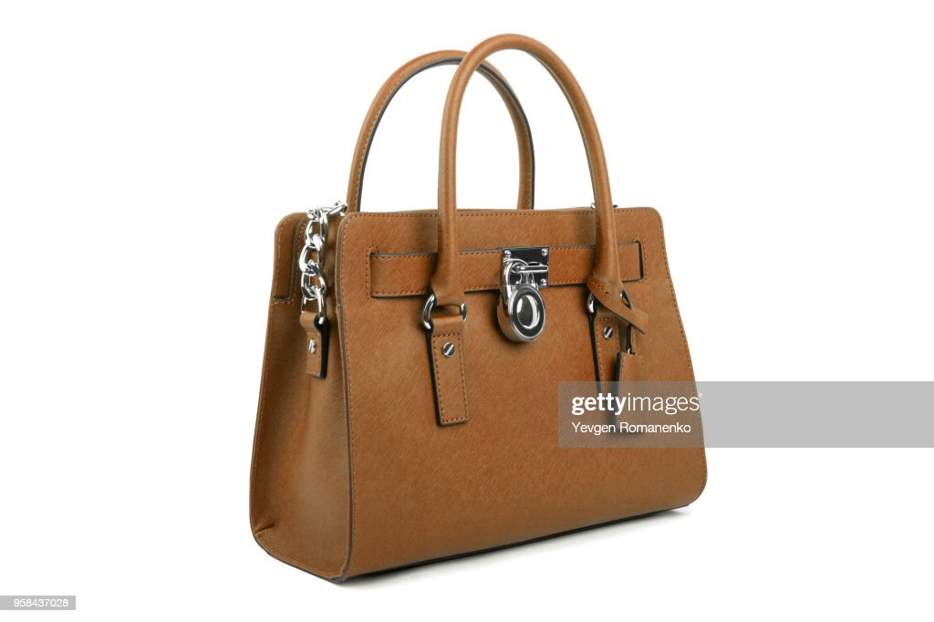 e7cda7e2f7 Brown leather Women s handbag on white background   Stock Photo