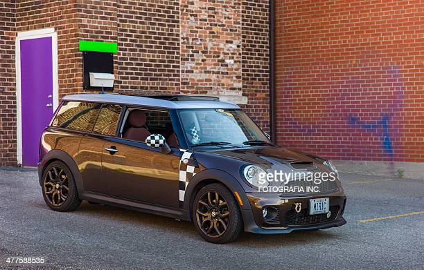 brown mini cooper clubman - compact car stock photos and pictures
