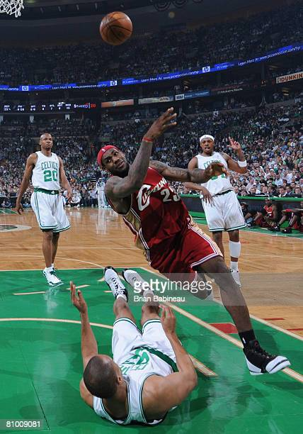 Brown of the Boston Celtics takes the charge against Lebron James of the Cleveland Cavaliers in Game One of the Eastern Conference Semifinals during...