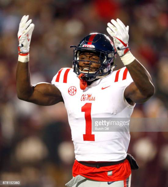 J Brown of the Mississippi Rebels celebrates after a touchdown during the second half of an NCAA football game against the Mississippi State Bulldogs...