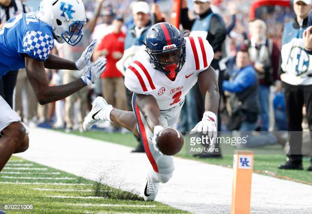 J Brown of the Mississippi Rebels reaches for a touchdown against the Kentucky Wildcats at Commonwealth Stadium on November 4 2017 in Lexington...