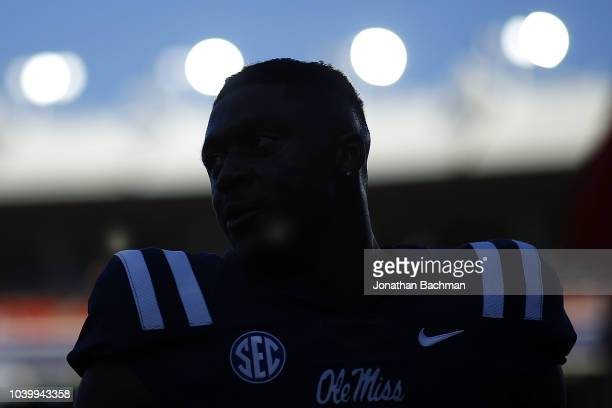 J Brown of the Mississippi Rebels reacts before a game against the Alabama Crimson Tide at VaughtHemingway Stadium on September 15 2018 in Oxford...