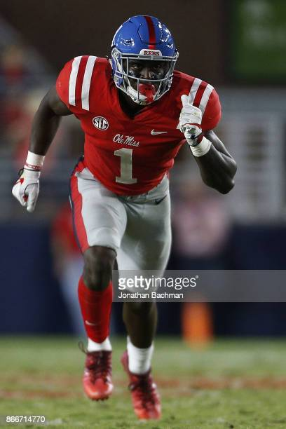 J Brown of the Mississippi Rebels runs during a game against the LSU Tigers at VaughtHemingway Stadium on October 21 2017 in Oxford Mississippi