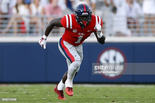 J Brown of the Mississippi Rebels runs during a game against the South Alabama Jaguars at VaughtHemingway Stadium on September 2 2017 in Oxford...