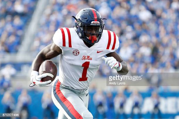 J Brown of the Mississippi Rebels runs for a touchdown against the Kentucky Wildcats at Commonwealth Stadium on November 4 2017 in Lexington Kentucky