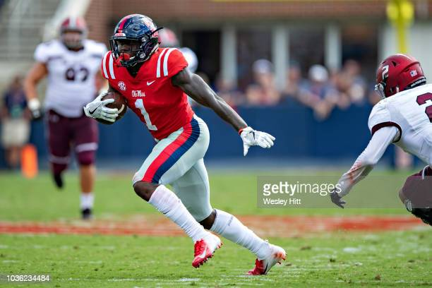 J Brown of the Mississippi Rebels runs the ball during a game against the Southern Illinois Salukis at VaughtHemingway Stadium on September 8 2018 in...