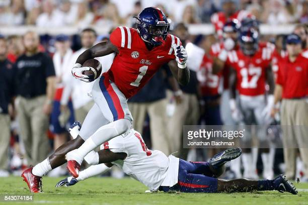 J Brown of the Mississippi Rebels runs with the ball during a game against the South Alabama Jaguars at VaughtHemingway Stadium on September 2 2017...
