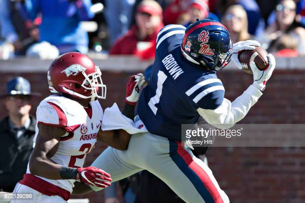 J Brown of the Ole Miss Rebels catches a pass during a game against the Arkansas Razorbacks at Hemingway Stadium on October 28 2017 in Oxford...