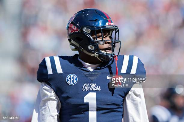 J Brown of the Ole Miss Rebels looks over to the sidelines during a game against the Arkansas Razorbacks at Hemingway Stadium on October 28 2017 in...