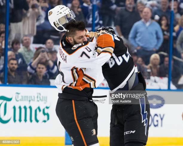 T Brown of the Tampa Bay Lightning fights against Joseph Cramarossa of the Anaheim Ducks during the first period at Amalie Arena on February 4 2017...