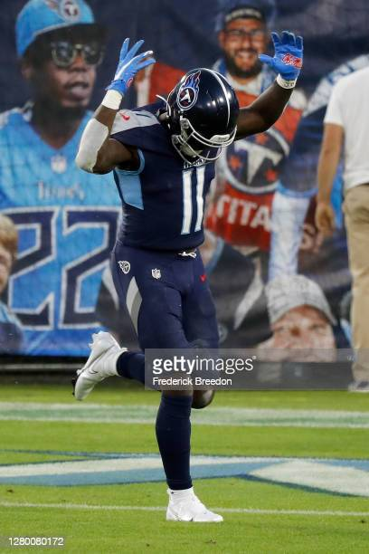 Brown of the Tennessee Titans celebrates after scoring a touchdown in the first quarter at Nissan Stadium on October 13, 2020 in Nashville, Tennessee.