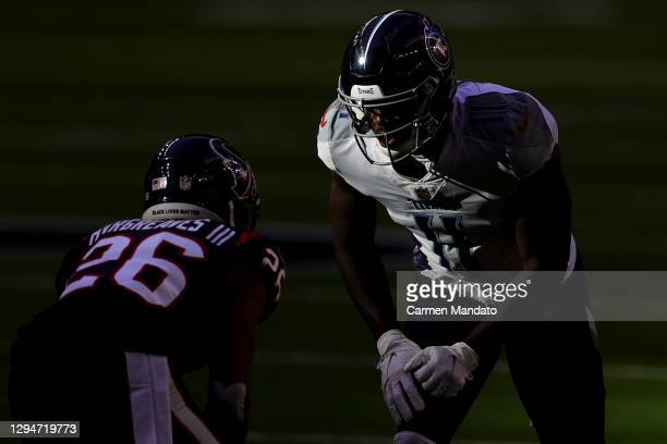 Brown of the Tennessee Titans in action against the Houston Texans during a game at NRG Stadium on January 03, 2021 in Houston, Texas.