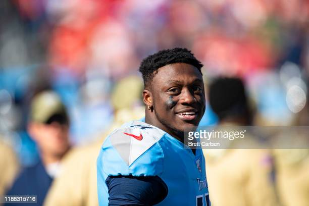 Brown of the Tennessee Titans looks on from the sideline during the second quarter against the Kansas City Chiefs at Nissan Stadium on November 10,...