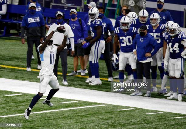 Brown of the Tennessee Titans looks to make a catch in the fourth quarter during their game against the Indianapolis Colts at Lucas Oil Stadium on...