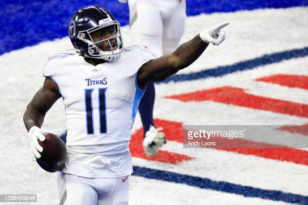 Brown of the Tennessee Titans reacts following a touchdown reception in the first quarter during their game against the Indianapolis Colts at Lucas...