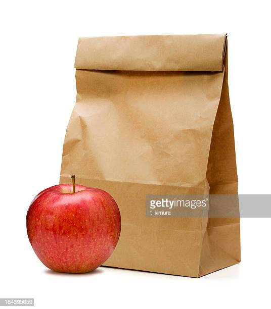 Brown Paper Bag and apple