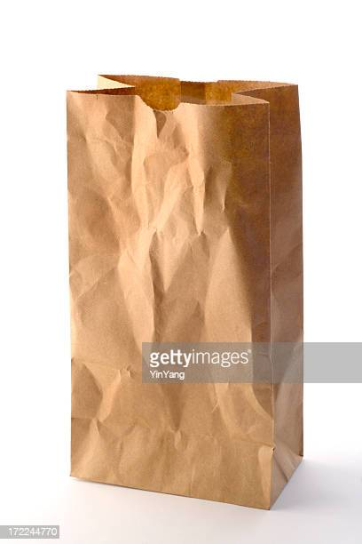 Brown Paper Bag Packed Lunch, Take Out Food on White