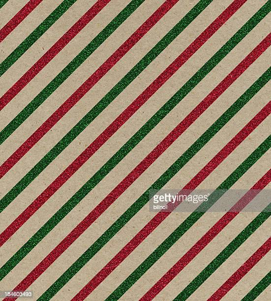 brown paper with red and green glitter stripes