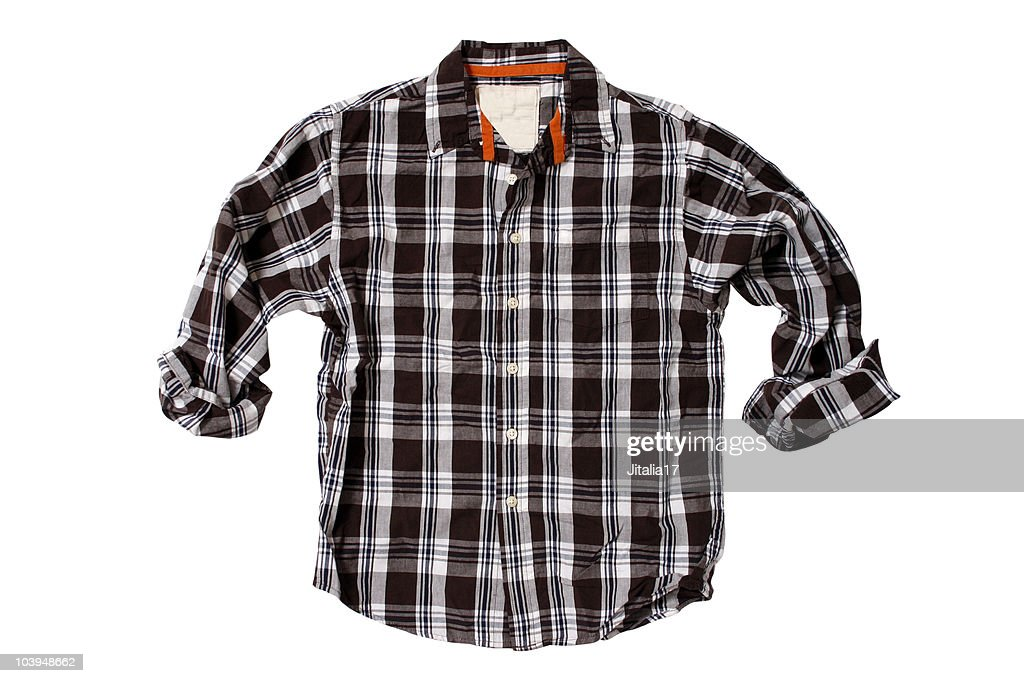 Brown Plaid Shirt - White Background : Stock Photo