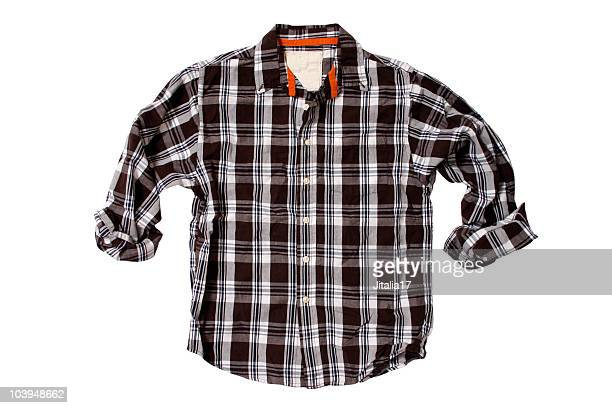 Brown Plaid Shirt - White Background